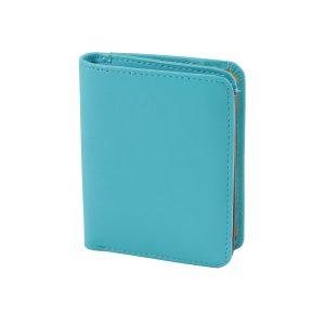 damen brieftasche aus leder mit ausweisfach hellblaue made in italy