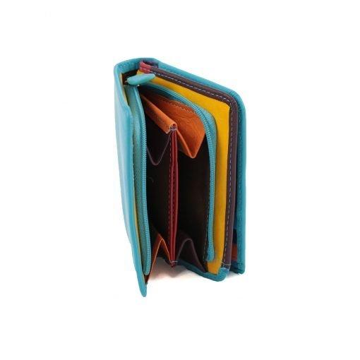 damen brieftasche aus leder mit ausweisfach hellblaue fantini