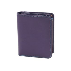 damen brieftasche aus leder mit ausweisfach lila made in italy