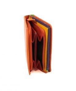 damen brieftasche aus leder mit ausweisfach orange fantini