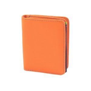damen brieftasche aus leder mit ausweisfach orange made in italy