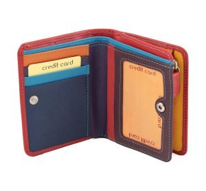damen brieftasche aus leder mit ausweisfach rot