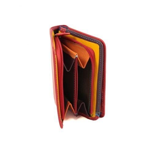 damen brieftasche aus leder mit ausweisfach rot fantini