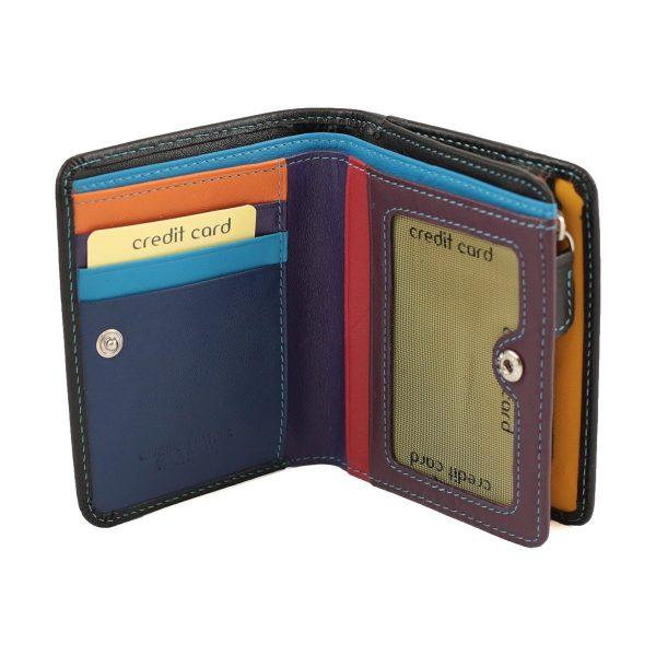 damen brieftasche aus leder mit ausweisfach schwarz