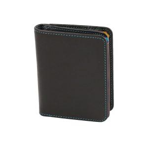 damen brieftasche aus leder mit ausweisfach schwarz made in italy