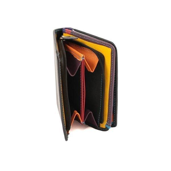 damen brieftasche aus leder mit ausweisfach schwarz fantini