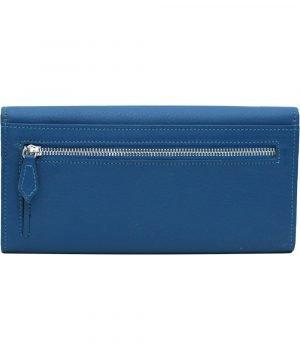 große damen leder geldbörse blau reißverschluss brieftasche