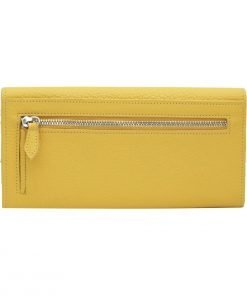große damen leder geldbörse gelb reißverschluss brieftasche