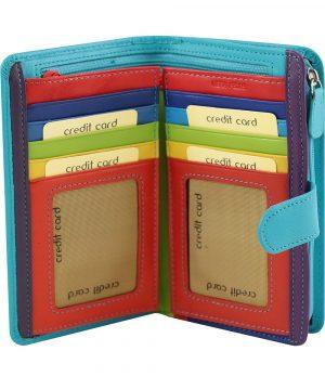 hellblaue leder frau brieftasche kreditkarteninhaber