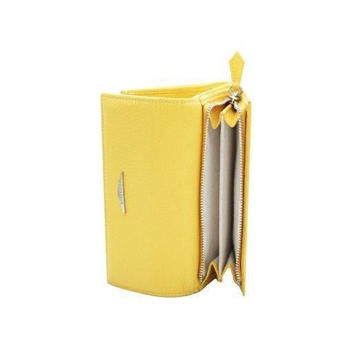 kleine damen leder geldbörse gelb interieur