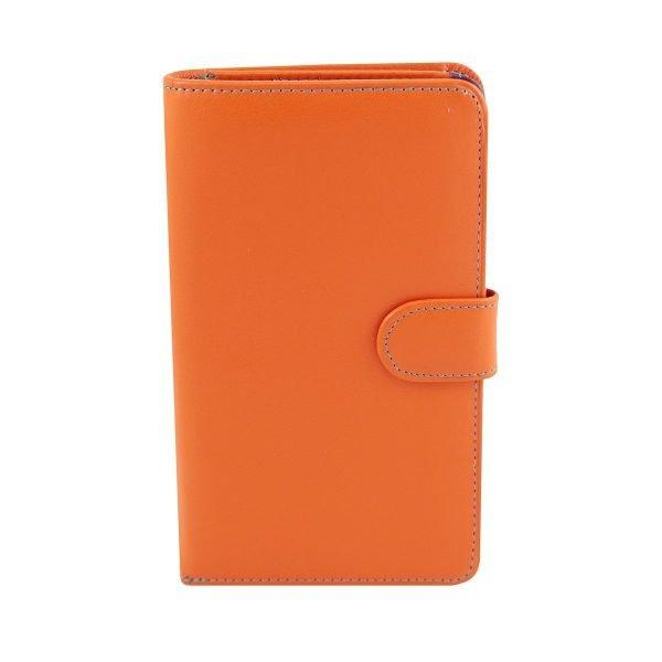 orange leder frau brieftasche fantini made in italy