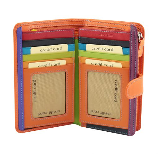 orange leder frau brieftasche kreditkarteninhaber