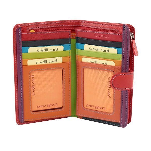 rote leder frau brieftasche kreditkarteninhaber