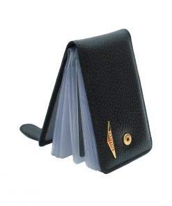 schwarz kartenhalter aus leder made in italy