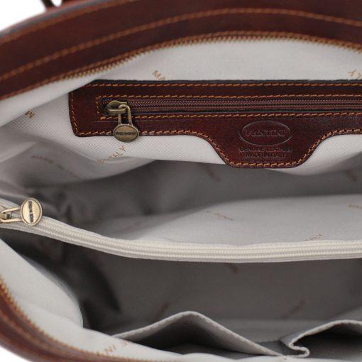 italienische handtaschen leder braun innentasche