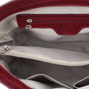italienische handtaschen leder rot innentasche