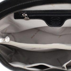 italienische handtaschen leder schwarz innentasche