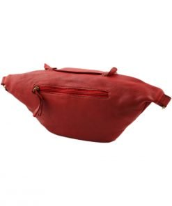 rote herren leder gürteltasche made in italy