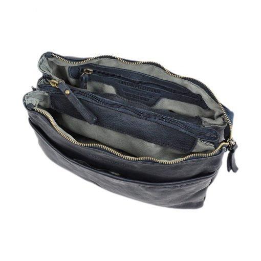 schultertasche leder blau innentasche