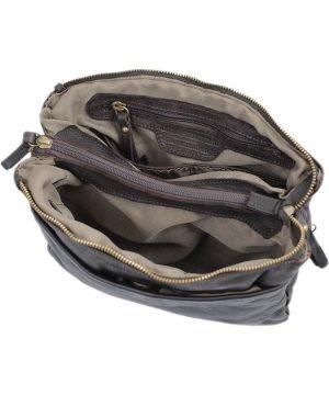 schultertasche leder braun innentasche