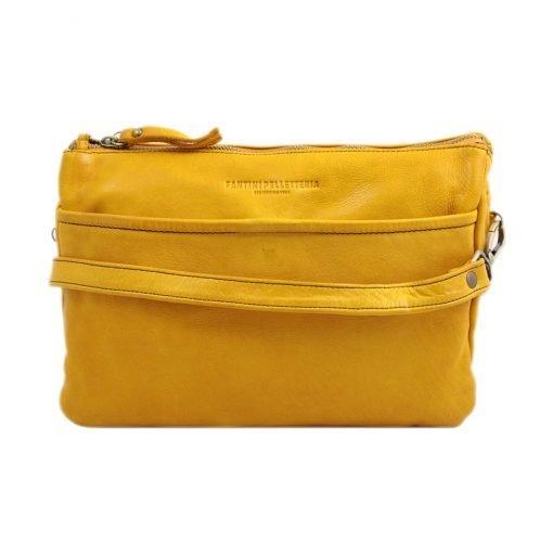 schultertasche leder gelb