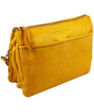 schultertasche leder gelb fantini lederwaren