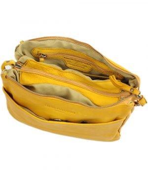 schultertasche leder gelb innentasche