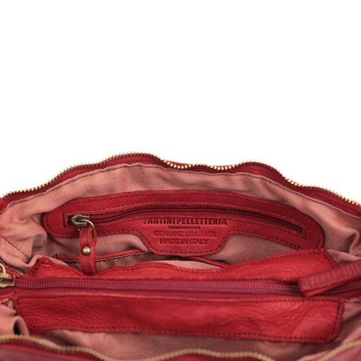 schultertasche leder rot made in italy