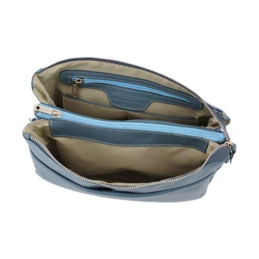 umhängetasche leder blau innentasche