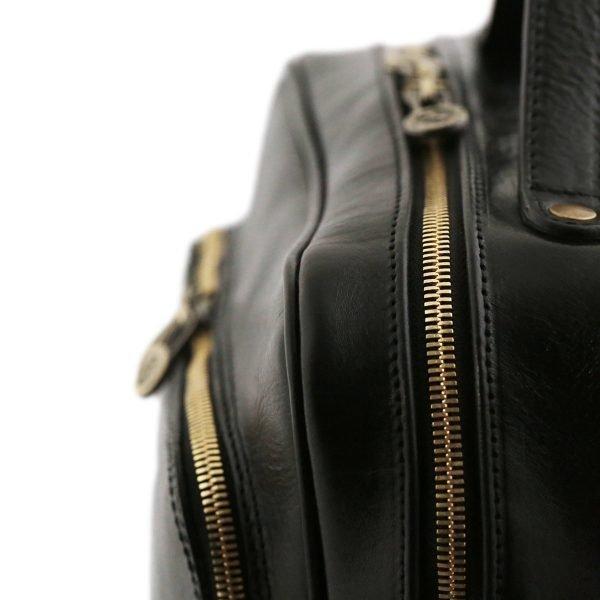 rucksack leder schwarz tuscany reißverschluss
