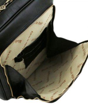 rucksack leder schwarz tuscany vordertasche