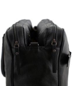 aktentasche aus leder 2 fächer schwarz