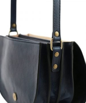 lederhandtasche blau italienische mode