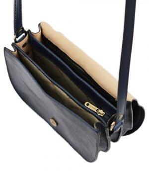 lederhandtasche blau schultertasche