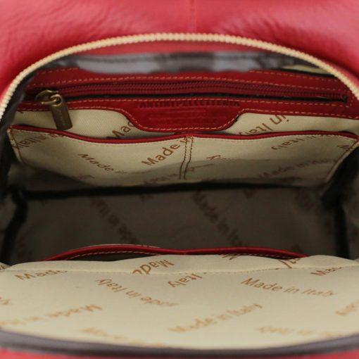 rucksack damen leder rot made in italy