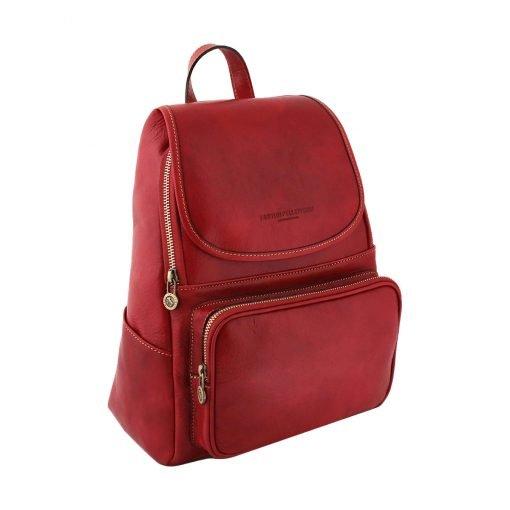 rucksack damen leder venezia rot