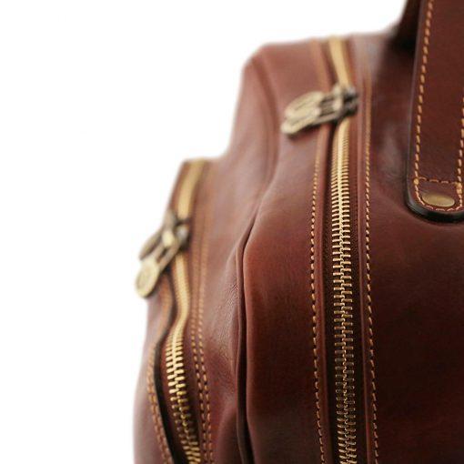 rucksack leder braun tuscany reißverschluss