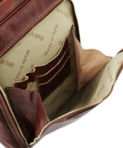 rucksack leder braun tuscany vordertasche