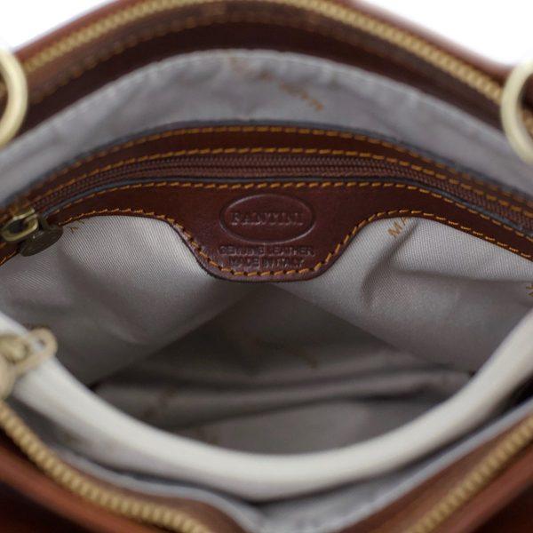 handtasche damen leder braun innentasche