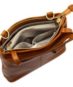 handtasche damen leder cognac made in italy