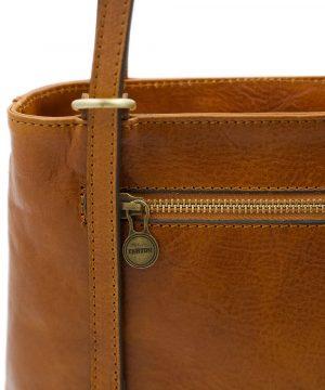 handtasche damen leder cognac reißverschluss