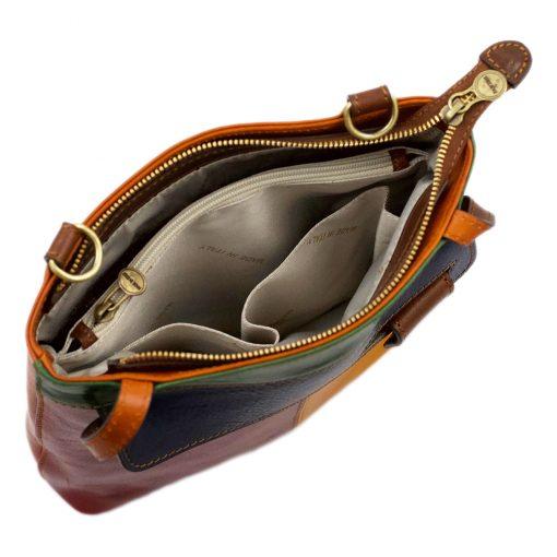 handtasche damen leder mehrfarbig made in italy