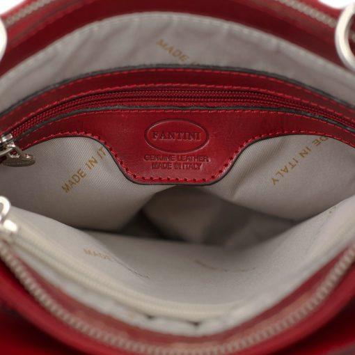handtasche damen leder rot innentasche