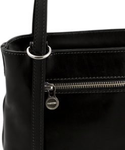 handtasche damen leder schwarz reißverschluss